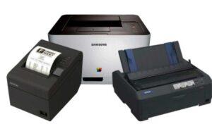 Impresoras de tinta, matricial, láser o POS.